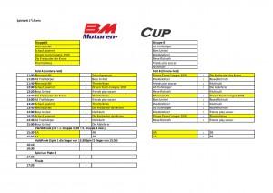 Spielplan BM Motoren Cup